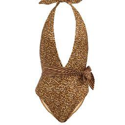 Zimmermann - Empire Plunge-neckline Leopard-print Swimsuit - Womens - Brown Multi | Matchesfashion (Global)