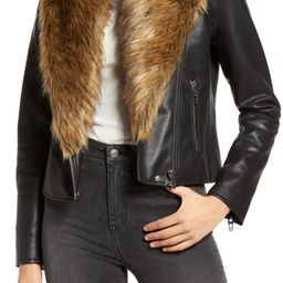 Night Fever Faux Leather Moto Jacket with Faux Fur Trim | Nordstrom