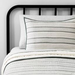 Textured Stripe Quilt Pillow Sham Foggy Day Green - Hearth & Hand™ with Magnolia | Target