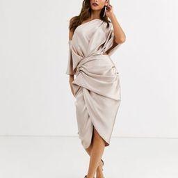 ASOS EDITION drape asymmetric midi dress in satin | ASOS (Global)