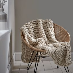 Chunky Knit Throw - Cream   Cox and Cox