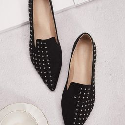 Studded Decor Point Toe Flat Loafers | SHEIN