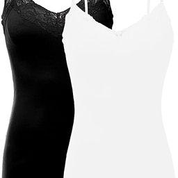 Bozzolo Women's Junior & Plus Adjustable Spaghetti Strap Lace Trim Tunic Tank Top | Amazon (US)