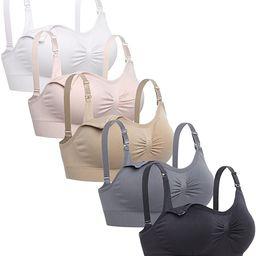 Lataly Womens Sleeping Nursing Bra Wirefree Breastfeeding Maternity Bralette Pack of 5 | Amazon (US)