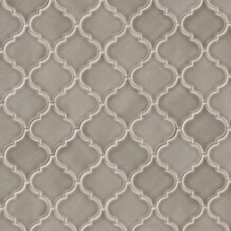 Dove Gray Arabesque 10.5 in. x 15.5 in. x 8 mm Glossy Ceramic Mesh-Mounted Mosaic Wall Tile (1.13... | The Home Depot