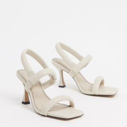 ASOS DESIGN Hickory padded mid-heeled sandals in white | ASOS (Global)