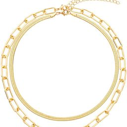 Link Layered Necklace Gold Layering Paperclip Chain Choker for Women | Amazon (US)
