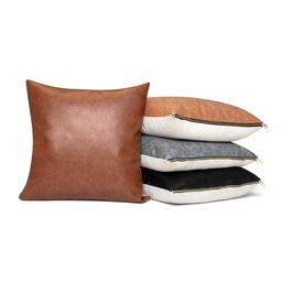 Better Homes & Gardens Pebble Faux Leather and Linen Blend Reversible, Decorative Throw Pillow, 2...   Walmart (US)