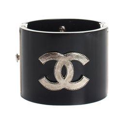 Chanel Limited Edition Black Resin Cuff Bracelet, Never Worn   Gilt