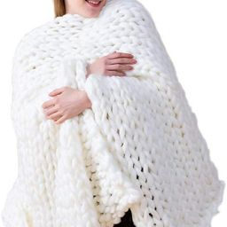 "Chunky Knit Blanket Hand Made Merino Wool Throw Boho Bedroom Sofa Home Decor Giant Yarn(White 40""...   Amazon (US)"