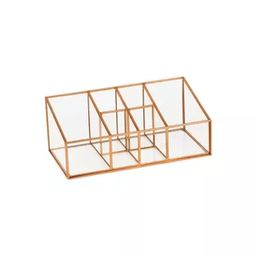 "10""X5""X4"" 6 Compartment Glass & Metal Vanity Organizer Copper Finish - Threshold™   Target"