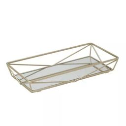 Geometric Mirrored Vanity Tray Gold - Home Details   Target