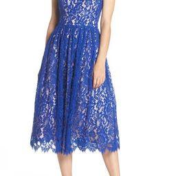 Women's Eliza J Gathered Lace Midi Dress | Nordstrom