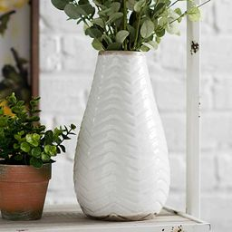 White Chevron Ceramic Vase, 11 in. | Kirkland's Home