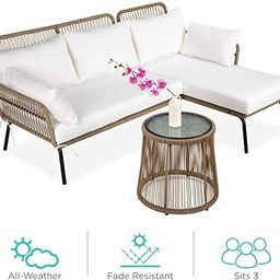 Best Choice Products Outdoor Rope Woven Sectional Patio Furniture L-Shaped Conversation Sofa Set ... | Amazon (US)
