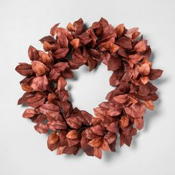 """24"""" Faux Rust Aspen Leaves Wreath - Hearth & Hand™ with Magnolia   Target"""