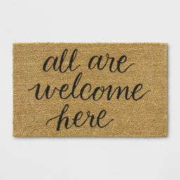 """1'6""""""""X2'6"""""""" All Are Welcome Here Tufted Doormat Beige - Threshold   Target"""