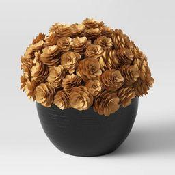 "6.5"" x 7"" Artificial Pinecone Arrangement in Wood Pot Brown/Black - Threshold™   Target"