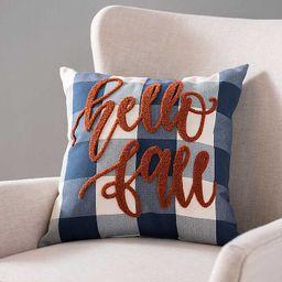 Hello Fall Navy Buffalo Check Pillow   Kirkland's Home