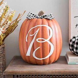 Monogram B Pumpkin with Black Buffalo Check Bow | Kirkland's Home