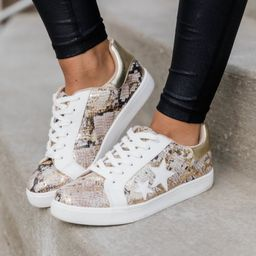 Kendra Snakeskin Star Sneakers Gold   The Pink Lily Boutique