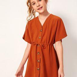 SHEIN Girls Buttoned Front Drawstring Waist Dress | SHEIN