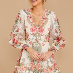 Romantic Dalliance Pink Floral Print Dress   Red Dress