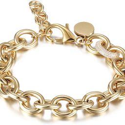 CIUNOFOR CZ Bracelet for Women Girls Wide Cuban Curb Oval Link Bracelet Silver Rose Gold Plated 9...   Amazon (US)