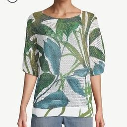 Petite Palm-Print Open-Weave Pullover Sweater | Chico's