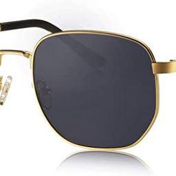 AVAWAY Polygonal Polarized Sunglasses for Men Women Metal Geometric Square Driving Glasses | Amazon (US)