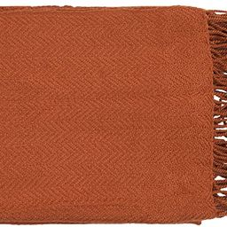 """Artistic Weavers Tanner Solid Knit Hand Woven 50"""" x 60"""" Throw, Pumpkin   Amazon (US)"""
