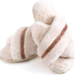 ZIZOR Women's Fuzzy Crossed Memory Foam Open Toe Slippers, Ladies Fluffy Rhinestone Embellished S... | Amazon (US)