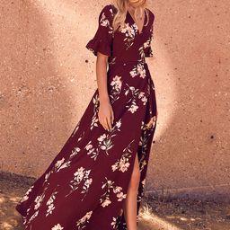September Sunsets Burgundy Floral Print Wrap Maxi Dress   Lulus (US)