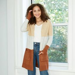 Women's Colorblock Open-Front Cozy Cardigan - A New Day™   Target