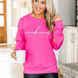 Weekend Script Hot Pink Sweatshirt   The Pink Lily Boutique
