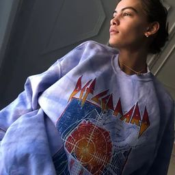 Def Leppard Pyromania Tie-Dye Crew Neck Sweatshirt   Urban Outfitters (US and RoW)