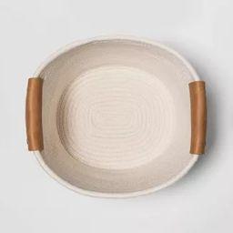"11"" Decorative Coiled Rope Square Base Tapered Basket Medium White - Threshold™   Target"