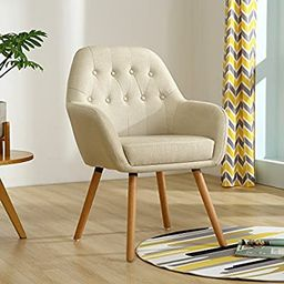 LSSBOUGHT Contemporary Stylish Button-Tufted Upholstered Accent Chair with Solid Wood Legs (Beige... | Amazon (US)
