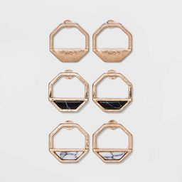 Semi-Precious Stone Inlay Octagon Multi Earring Set 3pc - Universal Thread™ | Target
