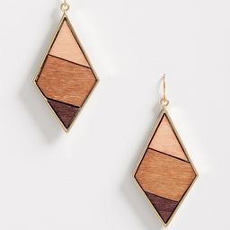 Wooden Diamond Shape Drop Earrings | Maurices