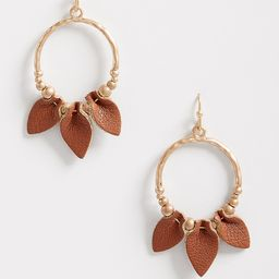 Folded Brown Faux Leather Hoop Earrings | Maurices