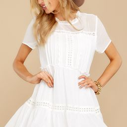 Whisk Me Away White Lace Dress   Red Dress