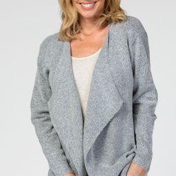 Heather Grey Solid Draped Long Sleeve Cardigan   PinkBlush Maternity