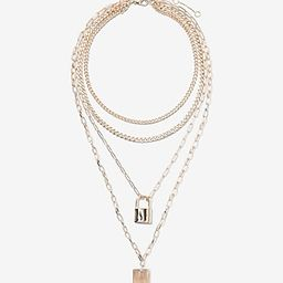 Layered Chain Locket Drop Necklace | Express
