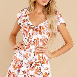 Dancing Along White Floral Print Dress | Red Dress