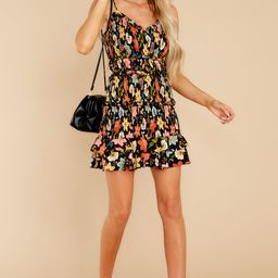 I'm Used To It Black Floral Print Dress | Red Dress