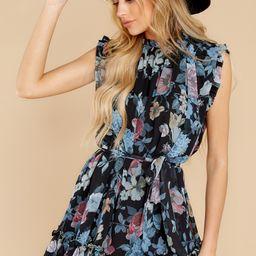 Check Your List Black Floral Print Dress | Red Dress