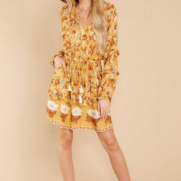 Ventura Nights Mustard Yellow Floral Print Dress | Red Dress