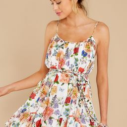 Afternoon Glow White Multi Floral Print Dress | Red Dress