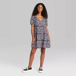 Women's Floral Print Short Sleeve Tiered Babydoll Dress - Wild Fable™   Target